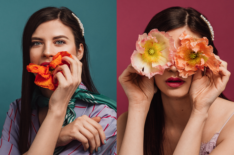 Kreativt porträt i studio fotogrfaerat av Fotograf Satu Linköping