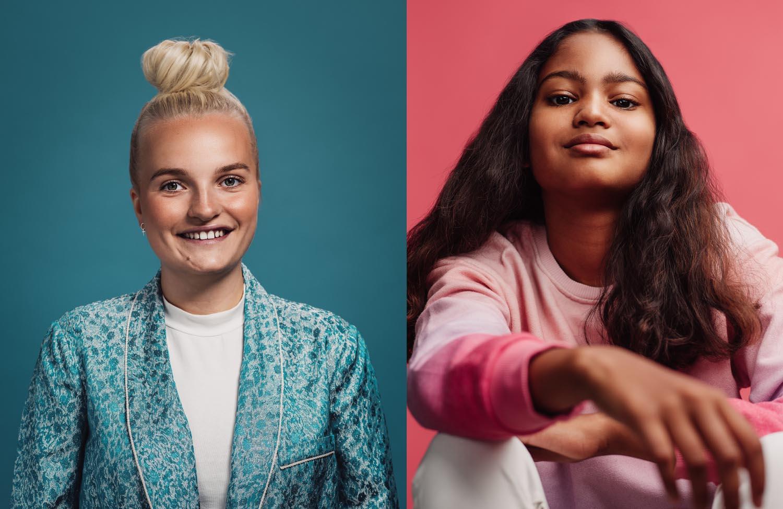 Färgranna porträtt på unga kvinnor i studio fotograferat mot blått och rosa av Satu Knape Fotograf i Linköping